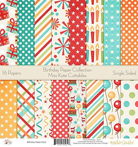 Pattern Paper Pack - Birthday - Scrapbook Premium Specialty Paper Single-Sided 12
