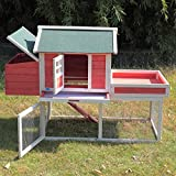 LAZYMOON Chicken Coop 65'' Backyard Hen Nest Box Wooden Rabbit House Wood Hutch Outdoor Run, Red