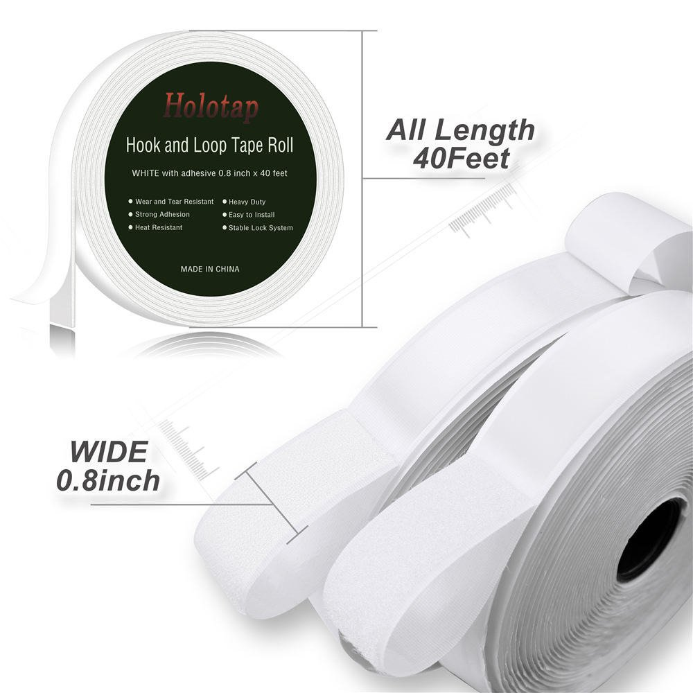 40 Feet x 0.8 Inch Hook and Loop Tape Roll Self Back Adhesive Fastening Strips by Holotap Fabric Fastener Mounting Tape White