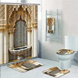 5-piece Bathroom Set-mVintage Building Islamic Housing Historic Exterior cade Mosaic Tap Prints decorate the bathroom,1-Shower Curtain,3-Mats,1-Bath towel