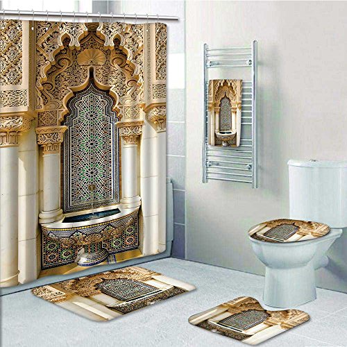5-piece Bathroom Set-mVintage Building Islamic Housing Historic Exterior cade Mosaic Tap Prints decorate the bathroom,1-Shower Curtain,3-Mats,1-Bath towel by PRUNUS