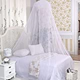 Stonges White Elegant Lace Bed Canopy Mosquito Net