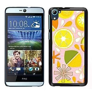 Caucho caso de Shell duro de la cubierta de accesorios de protección BY RAYDREAMMM - HTC Desire D826 - Patrón lima limón Citrus estilizado