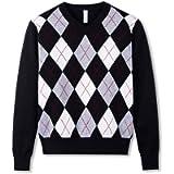 BOBOYOYO Boy's V-Neck Argyle Sweater School Uniform Pullover 100% Cotton Tops for Kids
