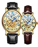 Binger Couple Watches Mechanical Skeleton Gold Dial Stainless Steel Leather band for His or Her (Black Brown)