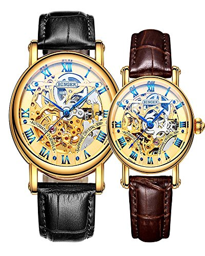 Binger Couple Watches Mechanical Skeleton Gold Dial Stainless Steel Leather band for His or Her (Black Brown) by Binger