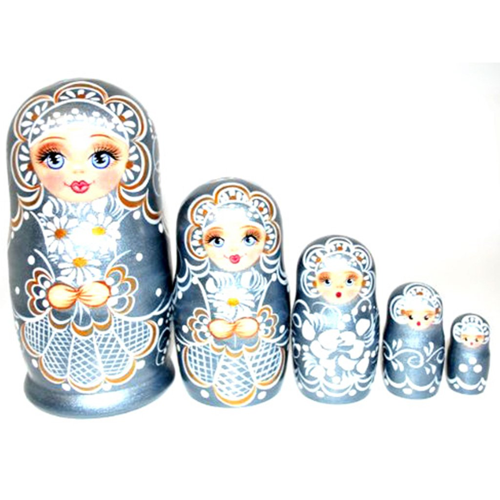 Authentic Unique Russian Hand Painted Handmade Russian Silver Nesting Dolls Set of 5 Pcs Matryoshkas 5'' Artist Signed