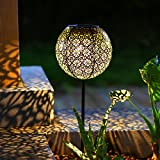 TAKE ME Solar Pathway Lights Garden Outdoor Landscape Lighting Waterproof Metal LED Stake Decorative Garden Decor Lights (Black)