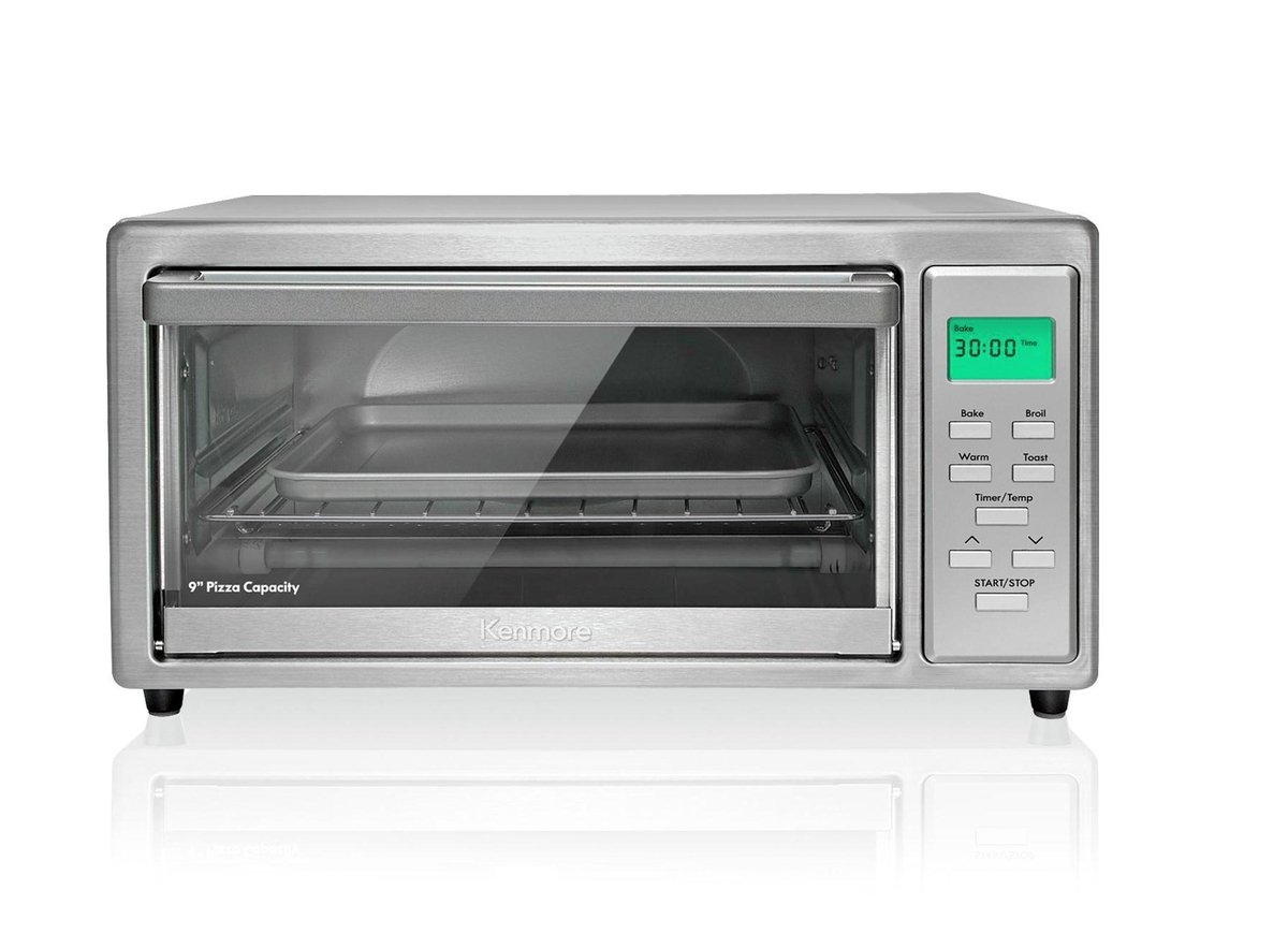 Kenmore 83521 4-slice Toaster Oven in Stainless Steel with Pizza Stone