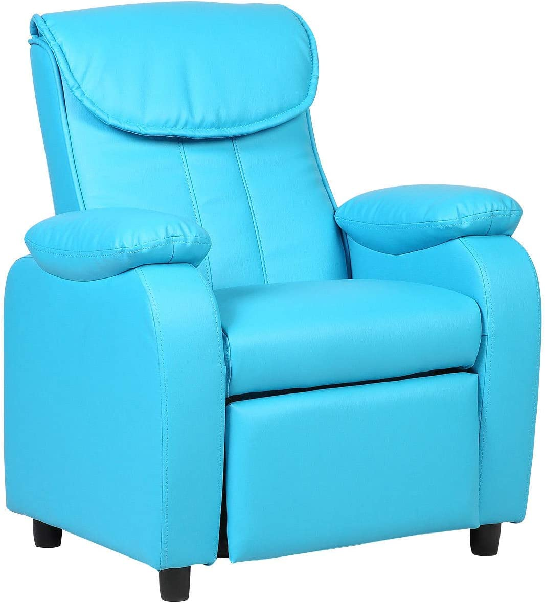 Costzon FWAM-00786 Blue Deluxe Children Recliner Sofa Armrest Chair Living Room Bedroom Couch Home Furniture