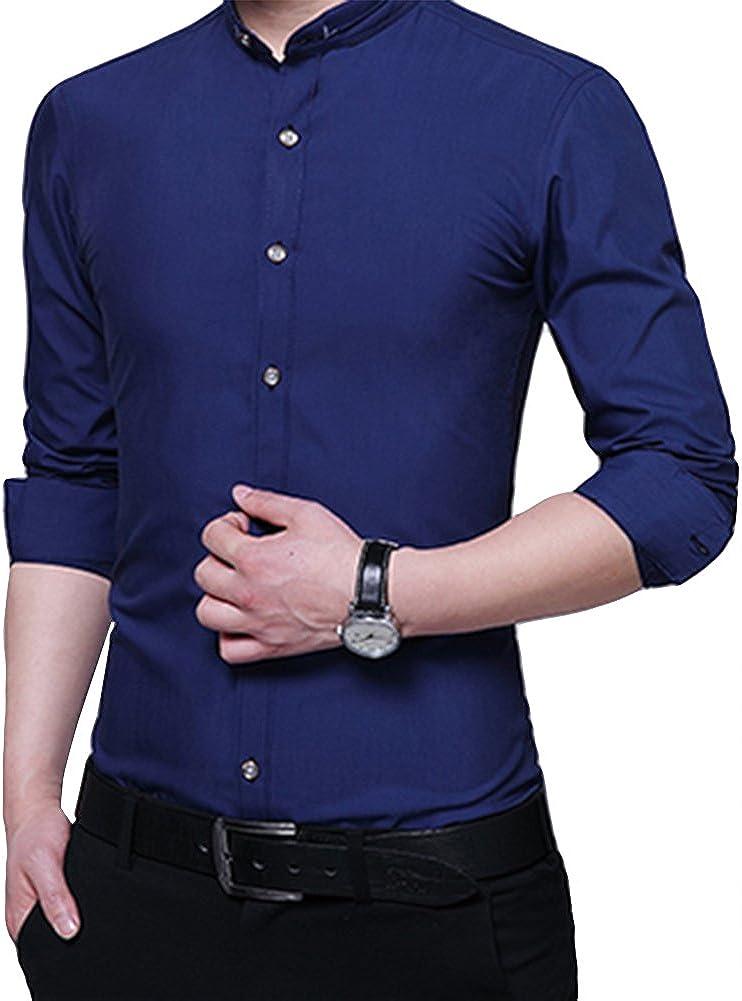 Camisa de Esmoquin de Manga Larga para Hombre con Cuello de Banda y Botones Casuales - Azul - Large: Amazon.es: Ropa y accesorios