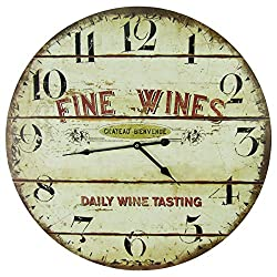 Large 23 Wood Wall Clock - Fine Wines, Daily Tastings