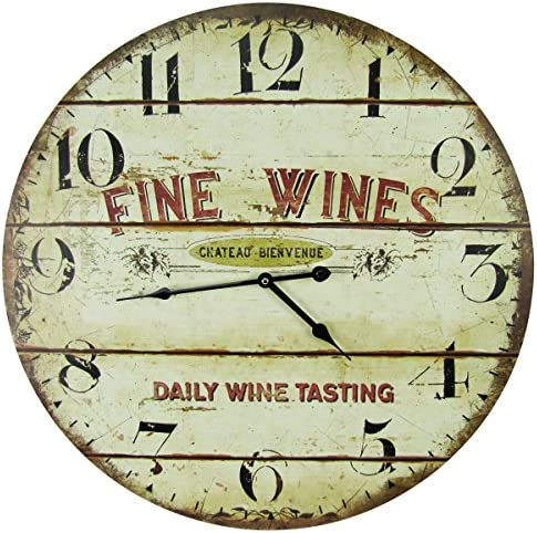 Large 23 Wood Wall Clock – Fine Wines, Daily Tastings