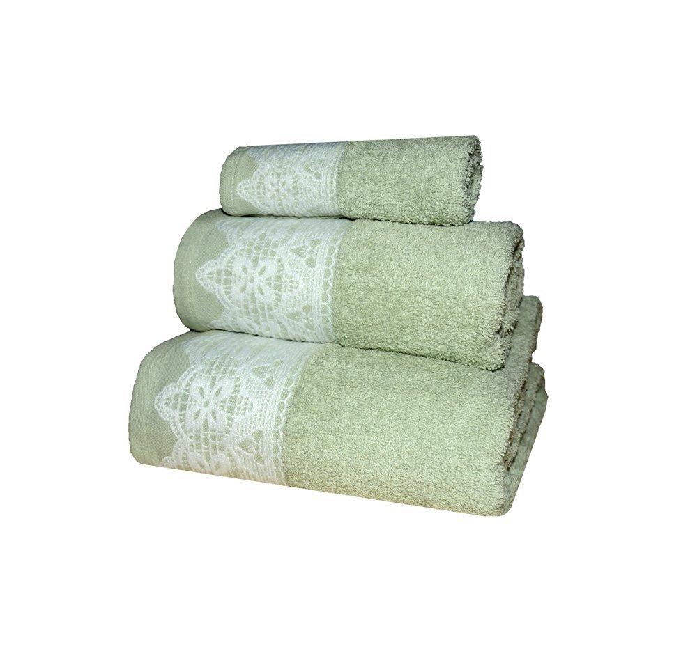 Casa Ydeal Store Juego de 3 Toallas puntilla 100% algodón (Verde Claro): Amazon.es: Hogar