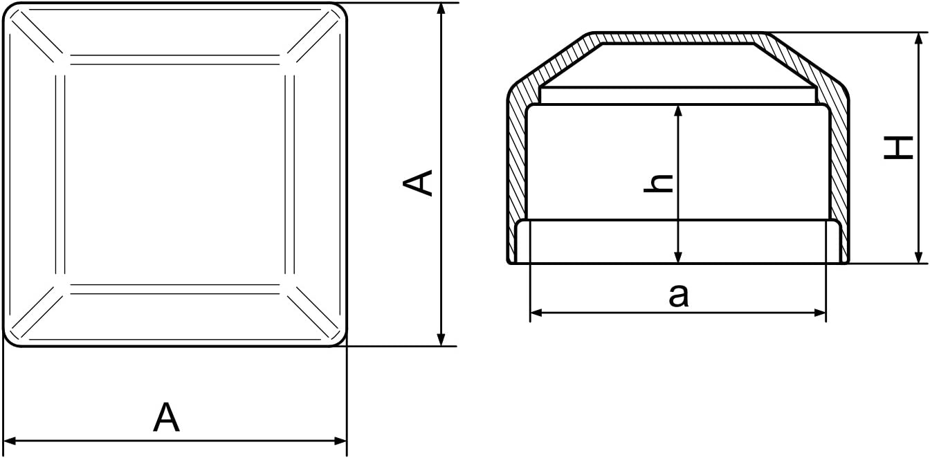 OuM 10 St/ück Pfostenkappe Zaunpfahlkappe quadratisch 40x40mm Schwarz