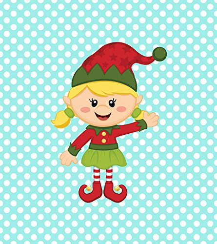 Santa Elf Girl on Aqua Design, Fabric Panel Printed on Organic Knit, 15 Inches Wide X 19 Inches High (4 Panels) by Fabric Fairytales