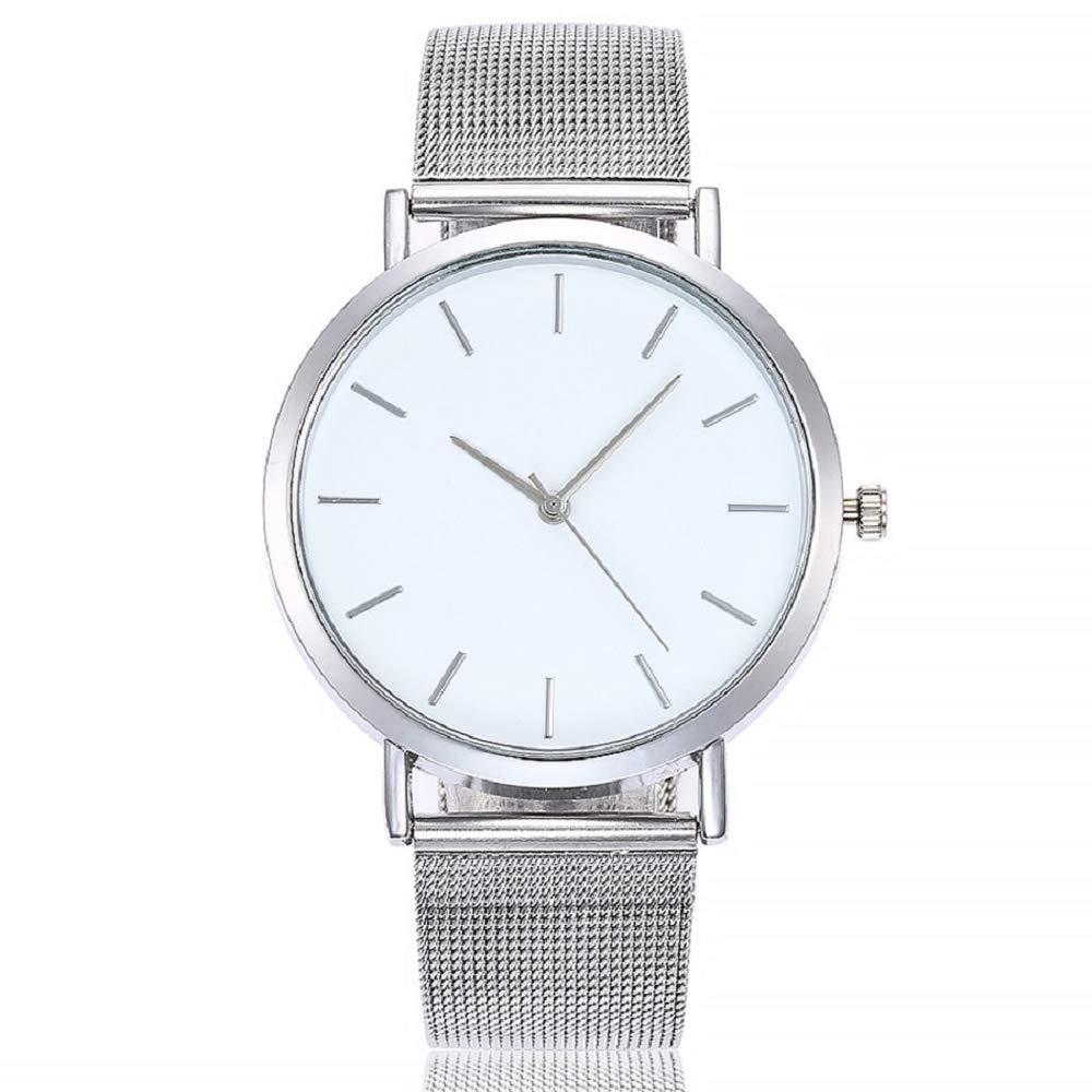 Gusspower Reloj Analogico para Mujer Hombre de Cuarzo con Correa en Acero Inoxidable (Plateado): Amazon.es: Relojes
