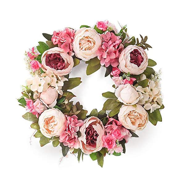 Souarts 15″ Artificial Pink Peony Wreath Green Leaves Boxwood Wreath Garland for Home Office Wall Front Door Wedding Decor Eucalyptus Wreath Dry Eucalyptus Wreath