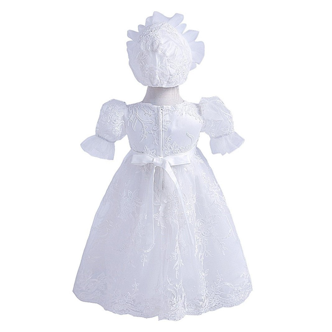 H.X Newborn Baby Girls Lace Gauze Embroidered Christening Baptism Birthday Dresses With Bonnet