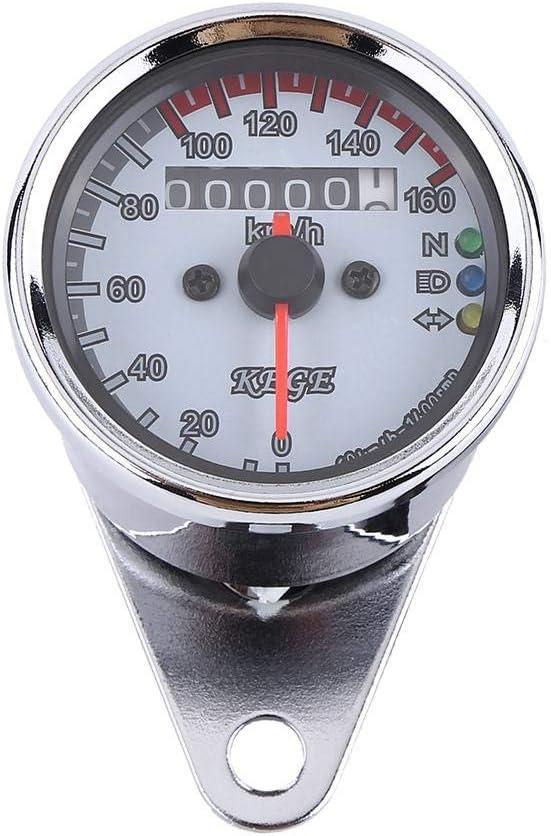 Keenso Motorrad Tachometer Universal 12v Led Motorrad 0 160km H Kilometerzähler Mit Led Kontrollleuchte Weiß Auto