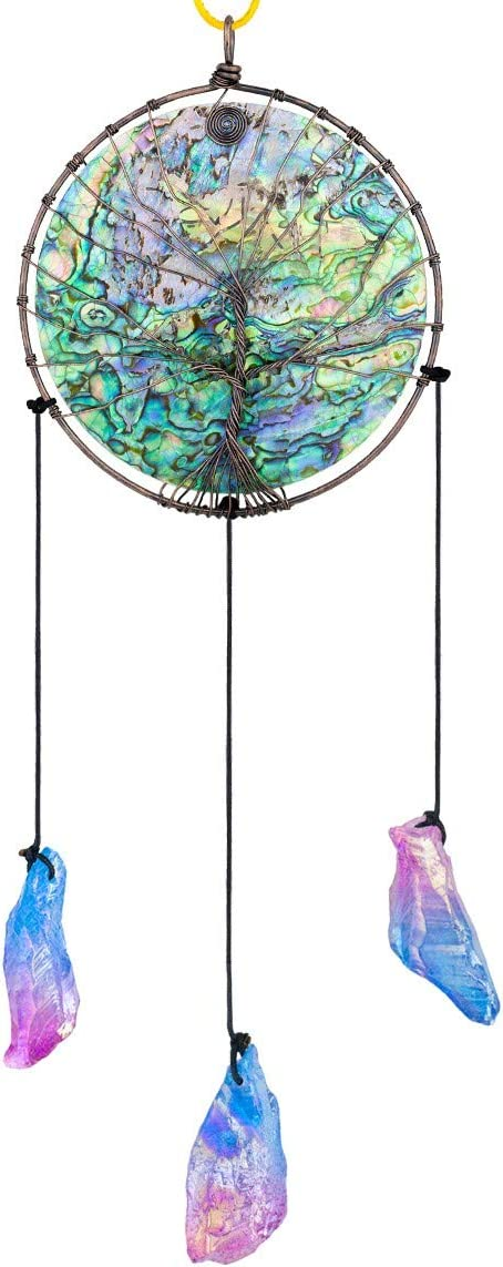Nupuyai Abalone Shell Tree of Life Hanging Ornament for Home Wall Decoration, String with Irregular Titanium Coated Raw Stone Quartz Crystal Wind Chime, Blue and Pink Color