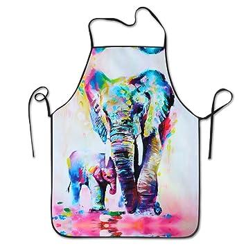Elefante pintura al óleo babero Delantal para Mujeres y Hombres – Correa de cuello ajustable –