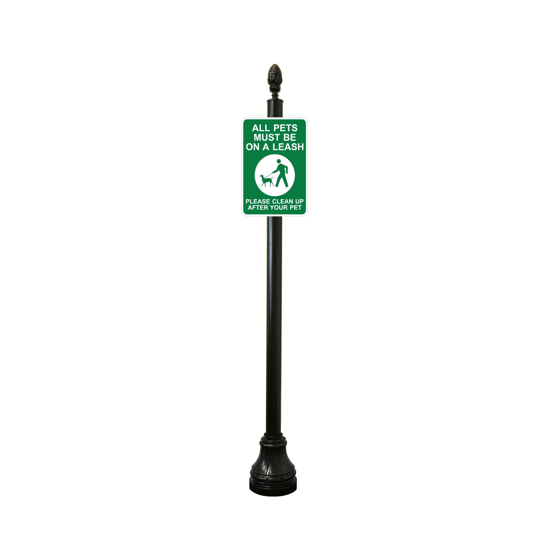 Reflective Keep Dog on Leash / Clean up After Your Pet Sign with Decorative Sign Post (Pineapple Finial, Bell Base)