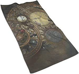 antoipyns Steampunk Clocks.Jpg Highly Absorbent Large Decorative Hand Towels Multipurpose for Bathroom, Hotel, Gym and Spa (16 X 30 Inches)