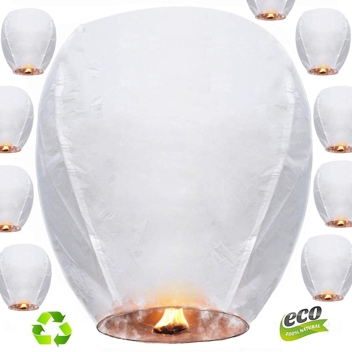 Nuluphu Sky Lanterns 10-Pack,for Any Birthdays, Parties, New Years,Funeral, Memorial Ceremonies, and More(White) by Nuluphu