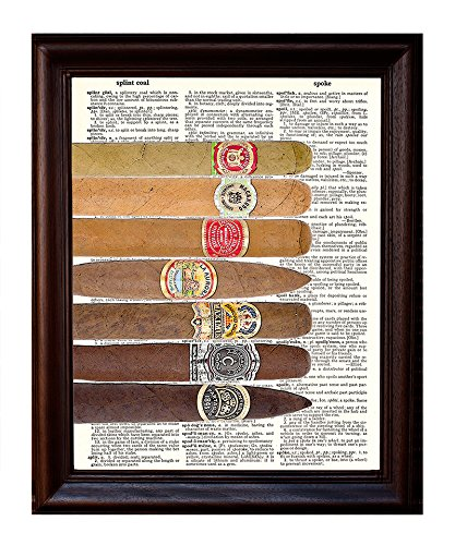 Seven Cigars - Dictionary Art Print Printed On Authentic Vintage Dictionary Book Page - 8 x 10.5