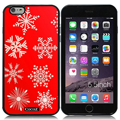 Double Series 2 Film Cell (New Apple iPhone 6 s Plus 5.5-inch CocoZ® Case Beautiful Christmas Snow TUP Material Case (Red&Black TPU Snowflake 1))