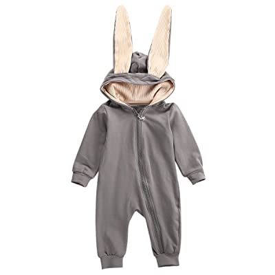 0-36M Newborn Infant Baby Boy Girl 3D Rabbit Ear Hoodie Jumpsuit Romper Bodysuit