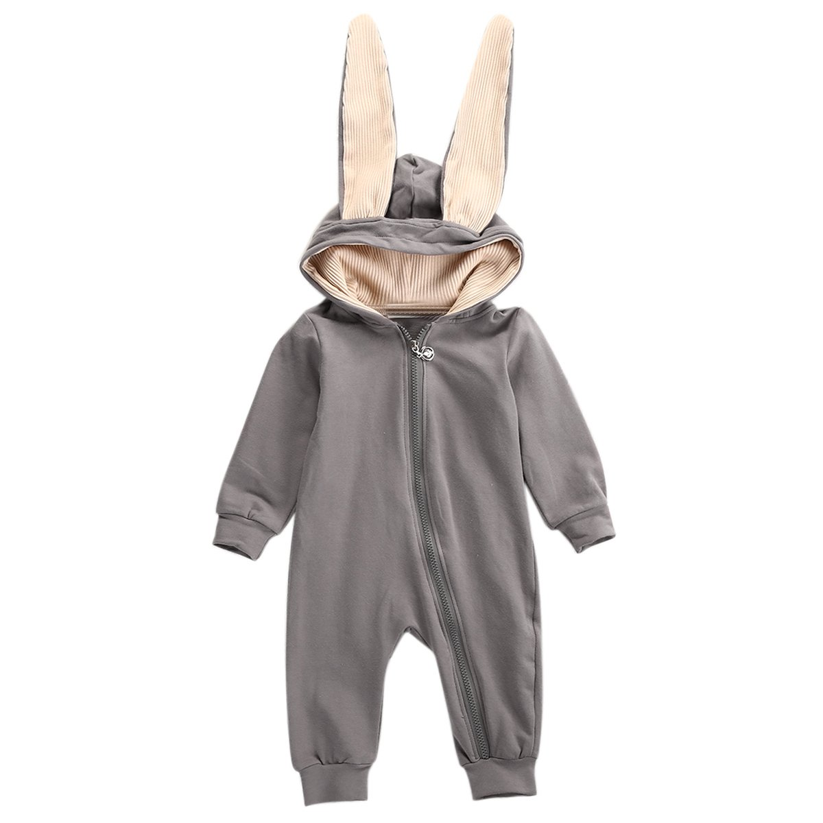 Puseky Baby Boys Girls Rabbit Ear Warm Hooded Romper Zipper Jumpsuit Outfits