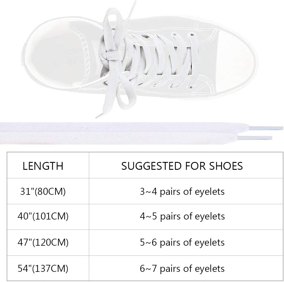 """Auihiay 36 Pairs 47/"""" Colored Shoelaces Flat Shoestrings for Sneakers Skate Shoes Sport Shoes Boots 36 Colors"""