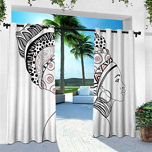 (Hengshu African, Outdoor Blackout Curtains,Exotic Safari Lady in Boho Turban Glamour Authentic Folkloric Fashion Design Print, W84 x L108 Inch, Grey White)