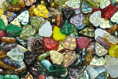 50 Mixed Assorted Czech Glass Leaf Beads for Jewelry Making, Supply for DIY Beading Projects ()