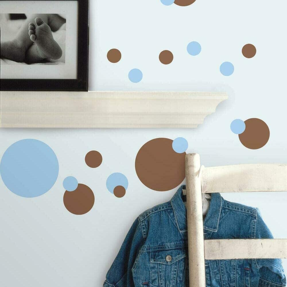 RoomMates Just Dots Blue and Brown Peel and Stick Wall Decals