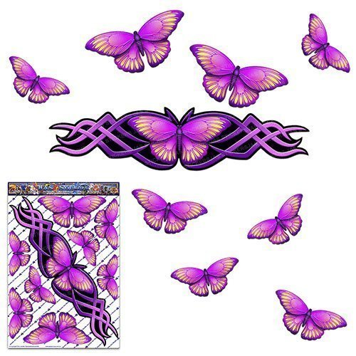 Adesivo animale grande farfalla rosa per auto camion portatile barca roulotte ST00021PK_LGE - Adesivi JAS