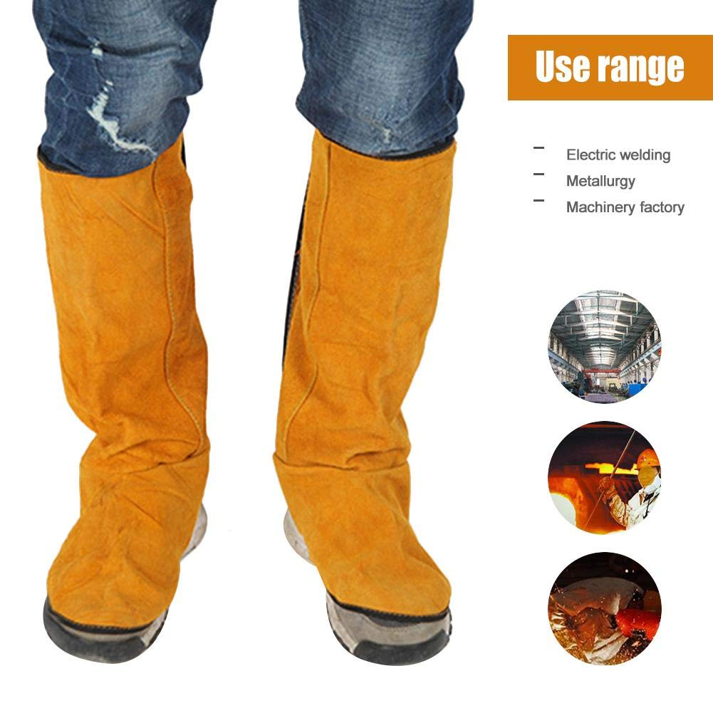 Luerme Welding Spats Leather Flame Retardant leather Welding Spats Safety Boot Flame Heat Abrasion Flame Resistant Foot Safety Protection Work Welder Tools Fireproofing Welding Boot