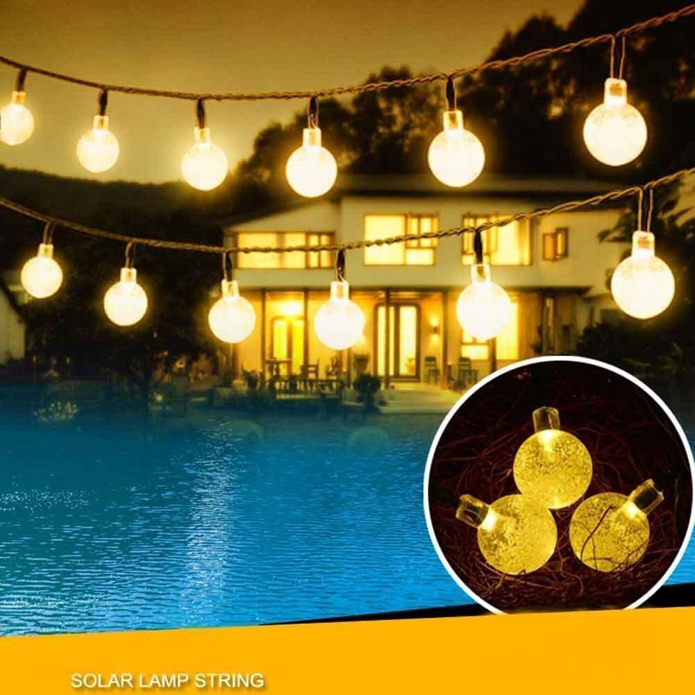 Amazon.com : Solar String Lights, KINGCOO 20ft 30 LED Crystal Ball  Waterproof Outdoor String Lights Solar Powered Globe Fairy String Lights  For Garden, ...