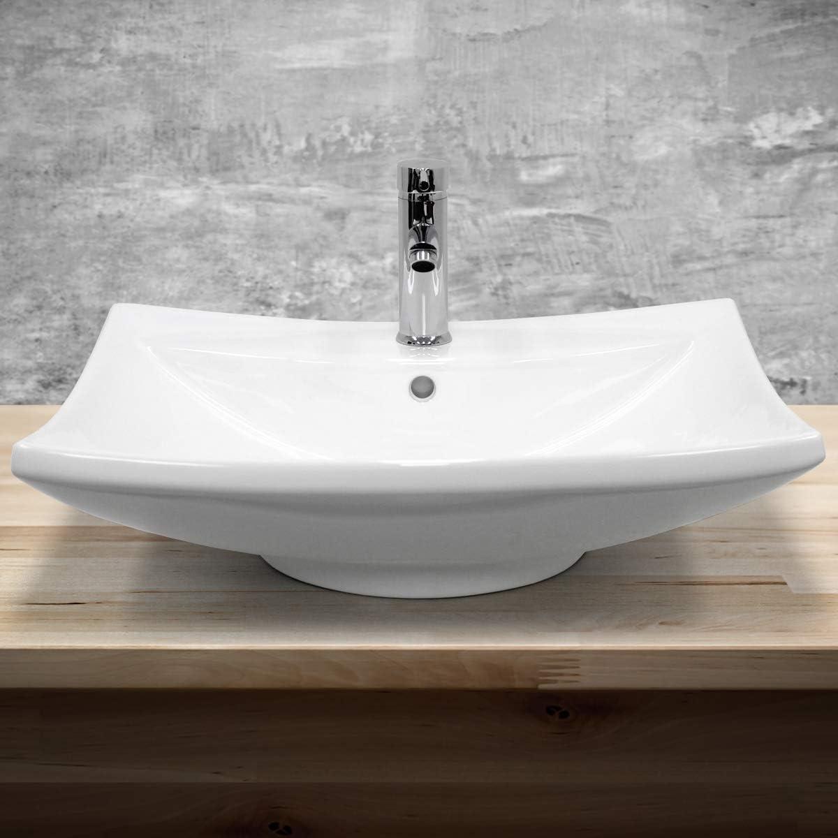 ECD Germany Vasque /à Poser c/éramique lavabo Salle de Bain Toilette 630 x 420 x 120 mm Ovale Blanc Lave Main /évier Vasque Salle de Bain Drain avec raccordement Standard Design Moderne