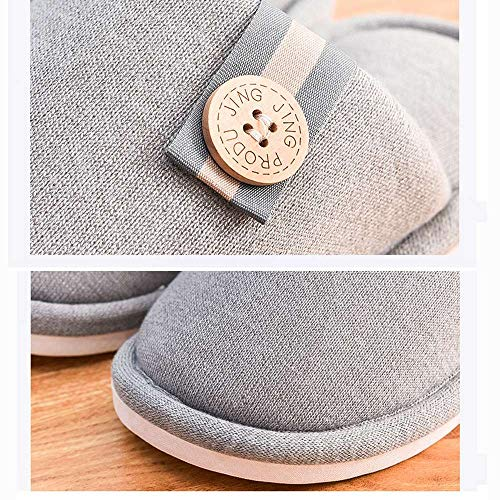 Women Indoor Slides Memory Shoes 4 Cozy Slippers House Men Warm Foam Luobote Home Unisex Grey 5Iwx7R5qp0