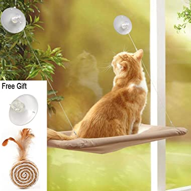 ZALALOVA Cat Window Perch, Cat Window Seat Bed Hammock Space Saving Design with 1Pc Funny Cat Toys Suction Cups Cat Shelves All Around 360° Sunbath Holds Up to 50lbs for Any Cat Size