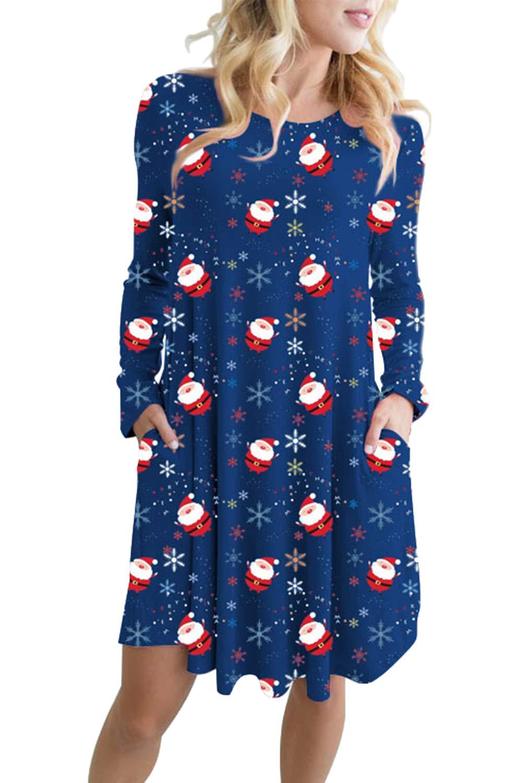 435d047cbf8 LaSuiveur Long Sleeve Cute Ugly Pockets Swing Christmas Sweater Dress  Snowman Navy Blue S