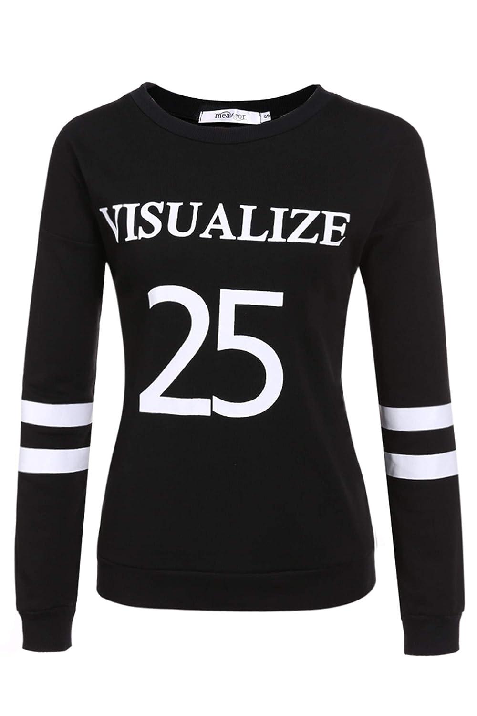 Meaneor Women Pullover Fleece Sweatshirt Long Sleeve T-shirt