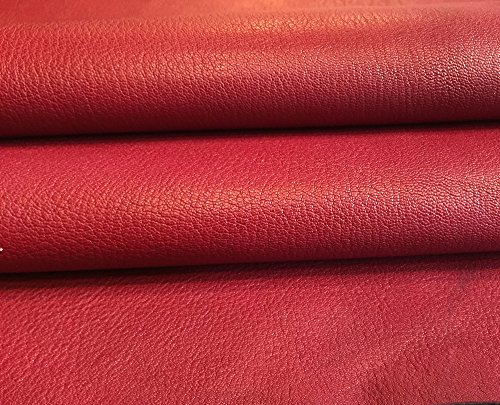 Genuine Red Leather Hide - Spanish Full Skin - Natural Lambskin Fabric - 6 sq ft - 2 oz. AVG Thickness - Textured Finish - Upholstery Home Décor Fabric - Craft DIY Material - Wholesale Supply
