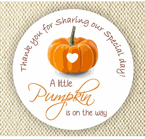 Baby Shower Stickers - A Little Pumpkin is on the way Stickers - Thank you for Celebrating with ()