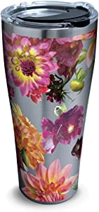Tervis Romantic Floral Stainless Steel Insulated Tumbler with Clear and Black Hammer Lid, 30oz, Silver