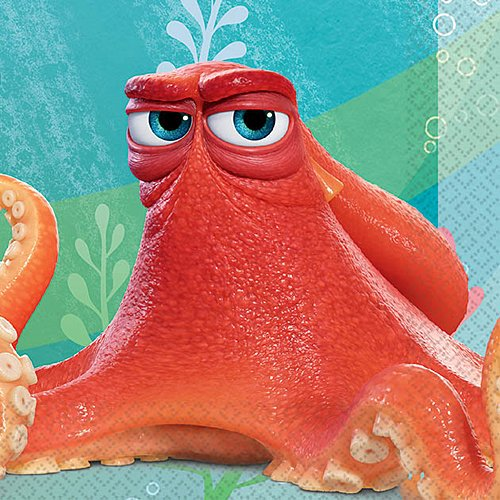 Octopus Napkin (Finding Dory Beverage Napkins (16 Pack) Party Supplies)