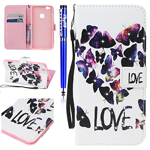 EUWLY Huawei P10 Lite Wallet Case,Huawei P10 Lite Leather Case Cover,Huawei P10 Lite Protective Sleeve with Colored Painted Embossed Pattern,Bling Bling Sparkling PU leather Cover with Rhinestone Diam Butterfly love